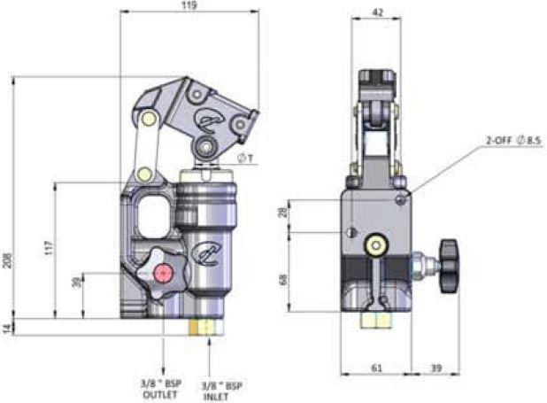 Bomba hidráulica manual en línea