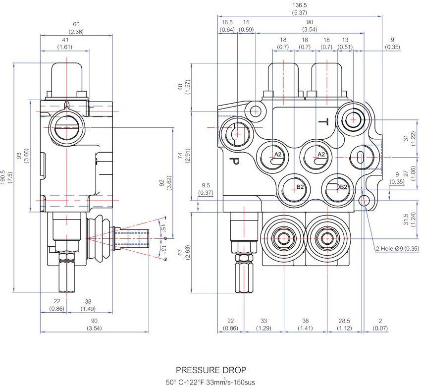 Especificaciones técnicas Distribuidor hidraulico 2 palancas MB20