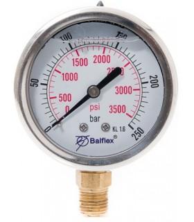 """Manómetro 0 - 250 BAR con Glicerina Conexión 1/4"""" NPT Inferior. Esfera de 63 mm"""