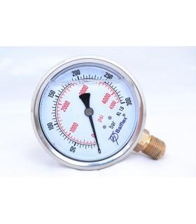 """Manómetro 0 - 300 BAR con Glicerina Conexión 1/4"""" NPT Inferior. Esfera de 63 mm"""