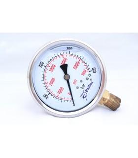 """Manómetro 0 - 400 BAR con Glicerina Conexión 1/4"""" NPT Inferior. Esfera de 63 mm"""