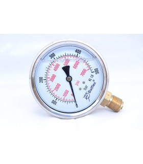 """Manómetro 0 - 500 BAR con Glicerina Conexión 1/4"""" NPT Inferior. Esfera de 63 mm"""
