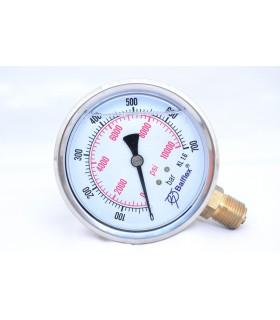 """Manómetro 0 - 700 BAR con Glicerina Conexión 1/4"""" NPT Inferior. Esfera de 63 mm"""