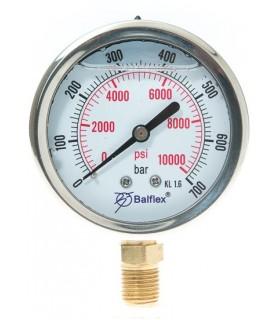 """Manómetro 0 - 700 BAR con Glicerina Conexión 1/4"""" BSP Inferior. Esfera de 63 mm"""