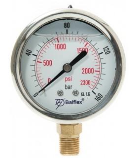 """Manómetro  0 - 160 BAR con Glicerina Conexión 1/4"""" BSP Inferior. Esfera de 63 mm"""