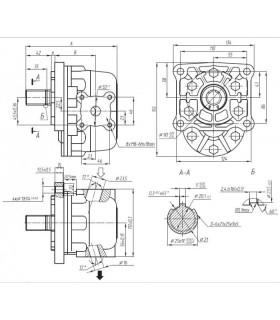 Bomba Hidráulica de engranajes de 32 cc/rev, 160-200 bar, 1500 RPM