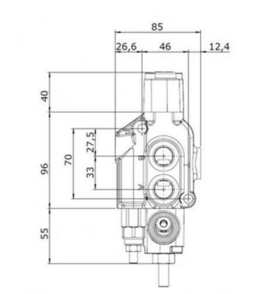 """Distribuidor Hidráulico 45 lts/min, 1/2"""" Corta Leña (Para astilladora)"""