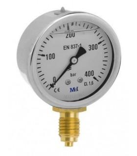 """Manómetro 0 - 400 BAR con Glicerina Conexión 1/4"""" BSP Inferior. Esfera de 63 mm"""