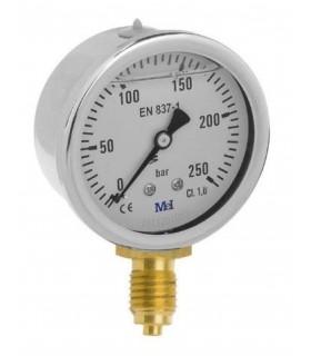 """Manómetro 0 - 250 BAR con Glicerina Conexión 1/4"""" BSP Inferior. Esfera de 63 mm"""