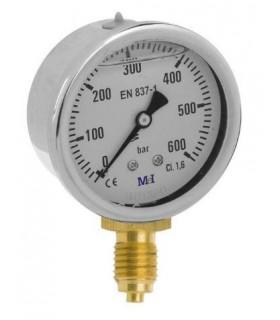 """Manómetro 0 - 600 BAR con Glicerina Conexión 1/4"""" BSP Inferior. Esfera de 63 mm"""