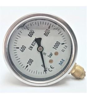 """Manómetro 0 - 1000 BAR con Glicerina Conexión 1/4"""" BSP Inferior. Esfera de 63 mm"""