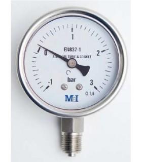 "Manómetro en Acero Inoxidable 0-315 bar, 1/4"" BSP, Ø63 mm Sin Glicerina"