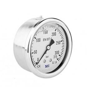 """Manómetro 0 - 315 BAR con Glicerina Conexión 1/4"""" BSP Inferior. Esfera de 63 mm"""