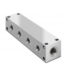 """Colector hidráulico, fabricación a medida en bloque de aluminio rectangular con 22 salidas/entradas de aceite de 1/2"""" BSP"""